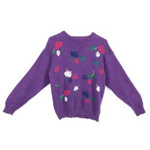 VINTAGE 90s Sweater Fall Leaves Purple Knit Medium
